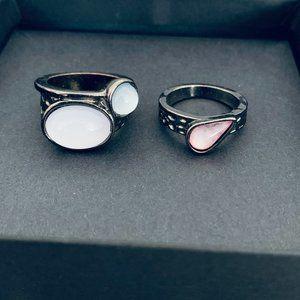 Set of 2 Dark Metal Rings
